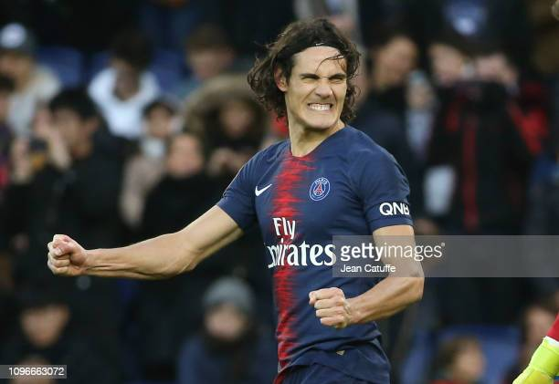 Edinson Cavani of PSG celebrates his goal but grimaces at the same time during the french Ligue 1 match between Paris SaintGermain and Girondins de...