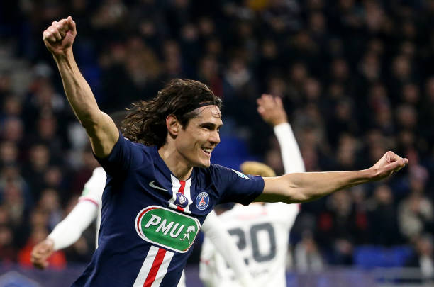 Edinson Cavani of PSG celebrates his goal but the goal was cancelled during the French Cup semifinal match between Olympique Lyonnais and Paris...