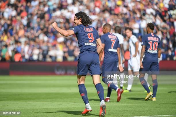 Edinson Cavani of PSG celebrates his goal during Ligue 1 match between Paris Saint Germain PSG and Angers on August 25 2018 in Paris France