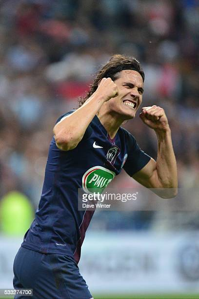 Edinson Cavani of PSG celebrates his goal during the French Cup Final between Paris Saint Germain and Marseille at Stade de France on May 21 2016 in...