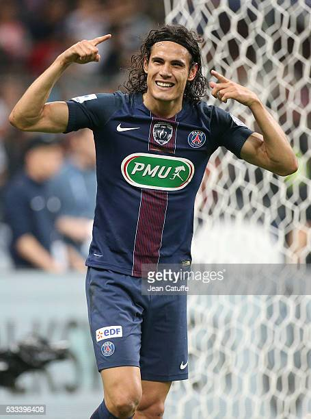 Edinson Cavani of PSG celebrates his goal during the French Cup Final match between Paris SaintGermain and Olympique de Marseille at Stade de France...