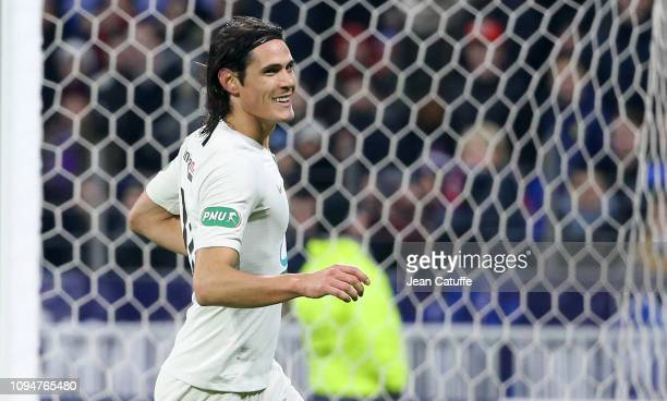 Edinson Cavani of PSG celebrates his goal during the French Cup match between FC Villefranche Beaujolais and Paris SaintGermain at Groupama Stadium...