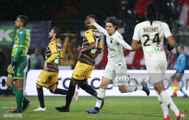 Edinson Cavani of PSG celebrates his goal during the french League Cup at Stade de la Source on December 18 2018 in Orleans France