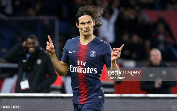 Edinson Cavani of PSG celebrates his goal during the french Ligue 1 match between Paris SaintGermain and Toulouse FC at Parc des Princes stadium on...