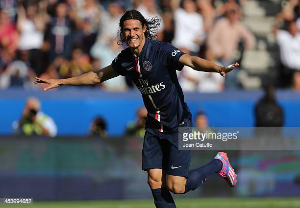 Edinson Cavani of PSG celebrates his goal during the French Ligue 1 match between Paris Saint Germain FC and SC Bastia at Parc des Princes stadium on...