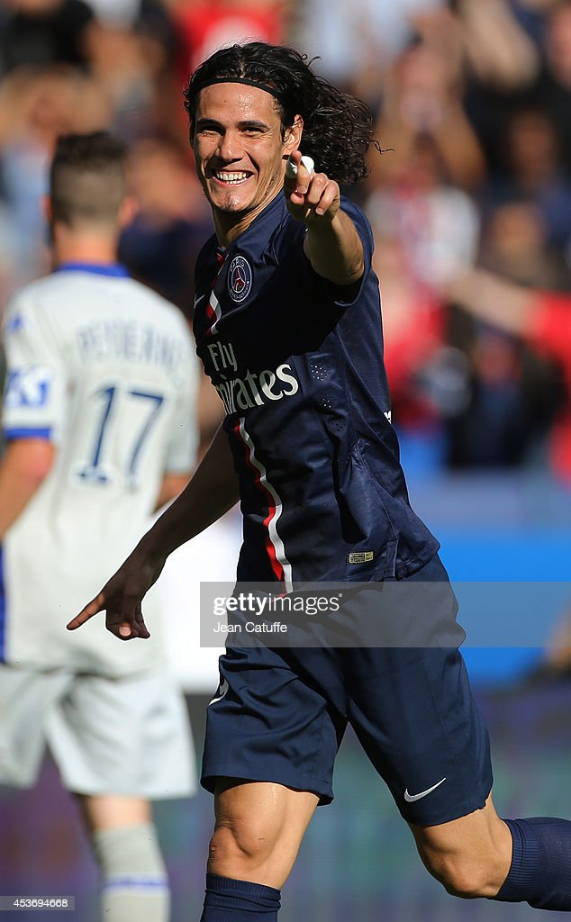 Edinson Cavani of PSG celebrates his goal during the French Ligue 1 match between Paris Saint Germain FC and SC Bastia at Parc des Princes stadium on August 16, 2014 in Paris, France.