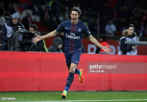 Edinson Cavani of PSG celebrates his goal during the French Ligue 1 match between Paris SaintGermain and Lille OSC at Parc des Princes stadium on...