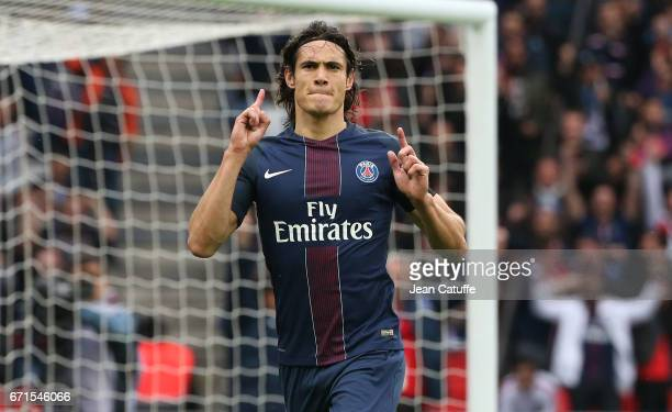 Edinson Cavani of PSG celebrates his goal during the French Ligue 1 match between Paris SaintGermain and Montpellier HSC at Parc des Princes stadium...