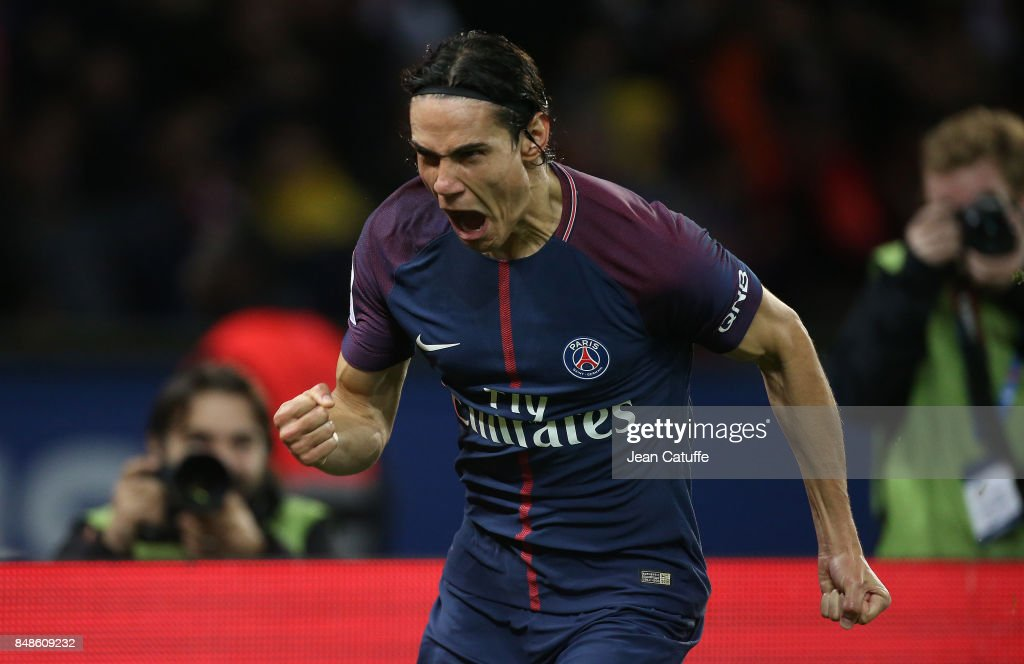 Edinson Cavani of PSG celebrates his goal during the French Ligue 1 match between Paris Saint Germain (PSG) and Olympique Lyonnais (OL) at Parc des Princes on September 17, 2017 in Paris, .