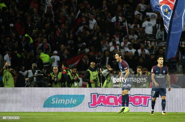 Edinson Cavani of PSG celebrates his goal during the French Ligue 1 match between Paris Saint-Germain and OGC Nice at Parc des Princes stadium on...