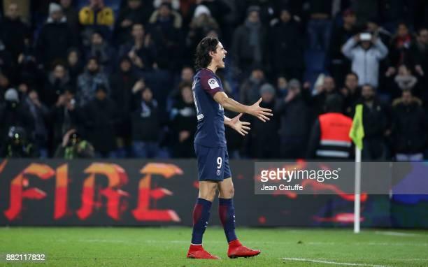 Edinson Cavani of PSG celebrates his goal during the French Ligue 1 match between Paris Saint Germain and Troyes ESTAC at Parc des Princes on...