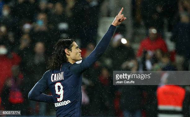 Edinson Cavani of PSG celebrates his goal on a penalty kick during the French Ligue 1 match between Paris SaintGermain and FC Lorient at Parc des...