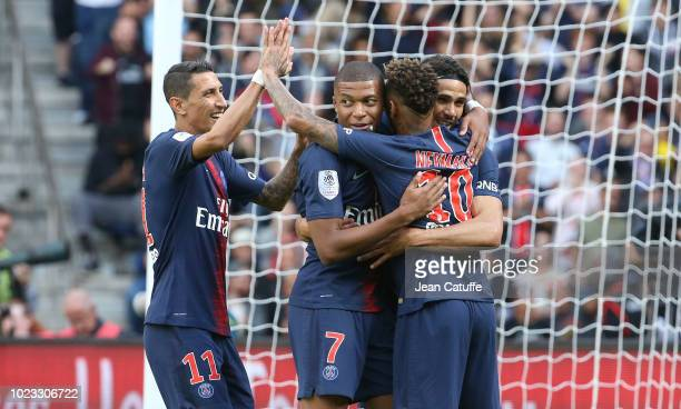 Edinson Cavani of PSG celebrates his goal with Angel Di Maria Kylian Mbappe Neymar Jr during the french Ligue 1 match between Paris SaintGermain and...