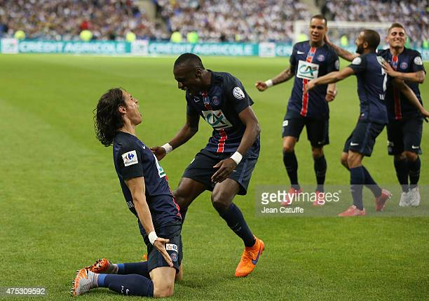 Edinson Cavani of PSG celebrates his goal with Blaise Matuidi of PSG during the French Cup Final between Paris SaintGermain and AJ Auxerre at Stade...