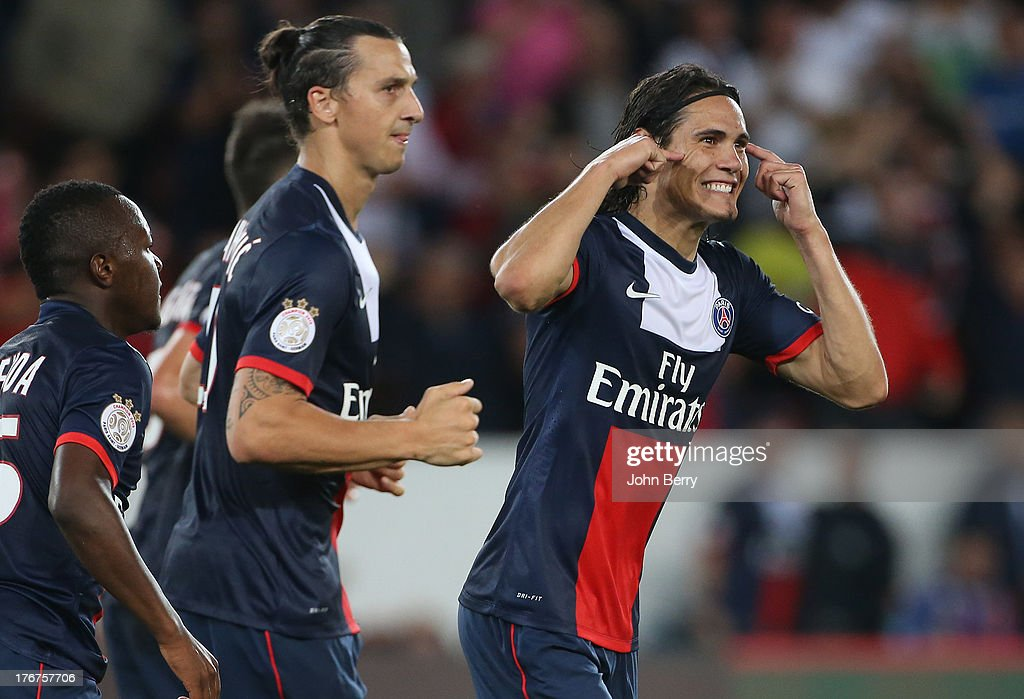 Edinson Cavani of PSG celebrates his goal with Zlatan Ibrahimovic of PSG on his side during the Ligue 1 match between Paris Saint Germain FC and AC Ajaccio at the Parc des Princes stadium on August 18, 2013 in Paris, France.