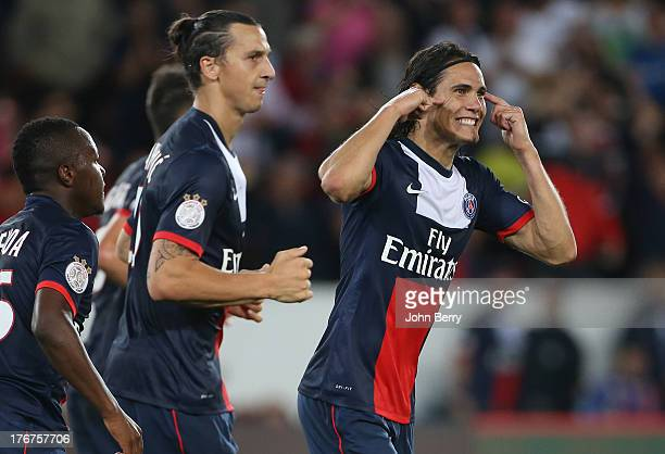 Edinson Cavani of PSG celebrates his goal with Zlatan Ibrahimovic of PSG on his side during the Ligue 1 match between Paris Saint Germain FC and AC...