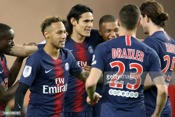 Edinson Cavani of PSG celebrates his second goal between Neymar Jr and Kylian Mbappe during the french Ligue 1 match between AS Monaco and Paris...