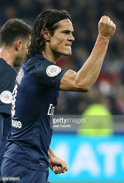 Edinson Cavani of PSG celebrates his second goal during the French Ligue 1 match between Olympique Lyonnais and Paris SaintGermain at Parc OL stadium...