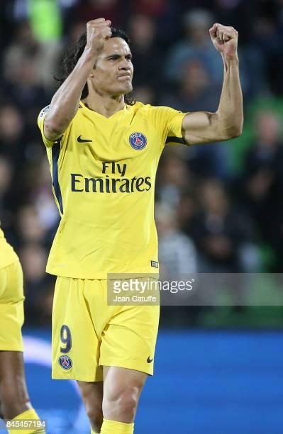 Edinson Cavani of PSG celebrates his second goal during the French Ligue 1 match between FC Metz and Paris Saint Germain at Stade SaintSymphorien on...