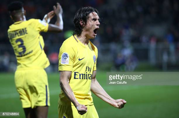Edinson Cavani of PSG celebrates his second goal during the French Ligue 1 match between Angers SCO and Paris Saint Germain at Stade Raymond Kopa on...