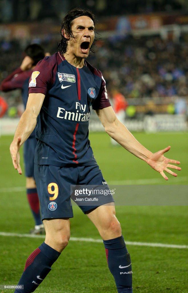 Edinson Cavani of PSG celebrates his second goal during the French League Cup (Coupe de la Ligue) final between Paris Saint-Germain (PSG) and AS Monaco on March 31, 2018 in Bordeaux, France.