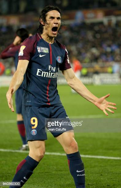 Edinson Cavani of PSG celebrates his second goal during the French League Cup final between Paris SaintGermain and AS Monaco on March 31 2018 in...