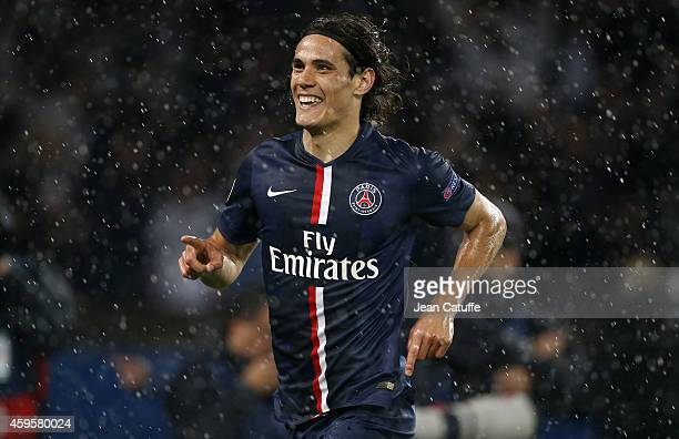 Edinson Cavani of PSG celebrates his second goal during the UEFA Champions League Group F match between Paris SaintGermain FC and Ajax Amsterdam at...