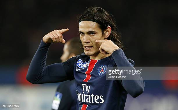 Edinson Cavani of PSG celebrates his winning goal during the French League Cup match between Paris SaintGermain and AS SaintEtienne at Parc des...