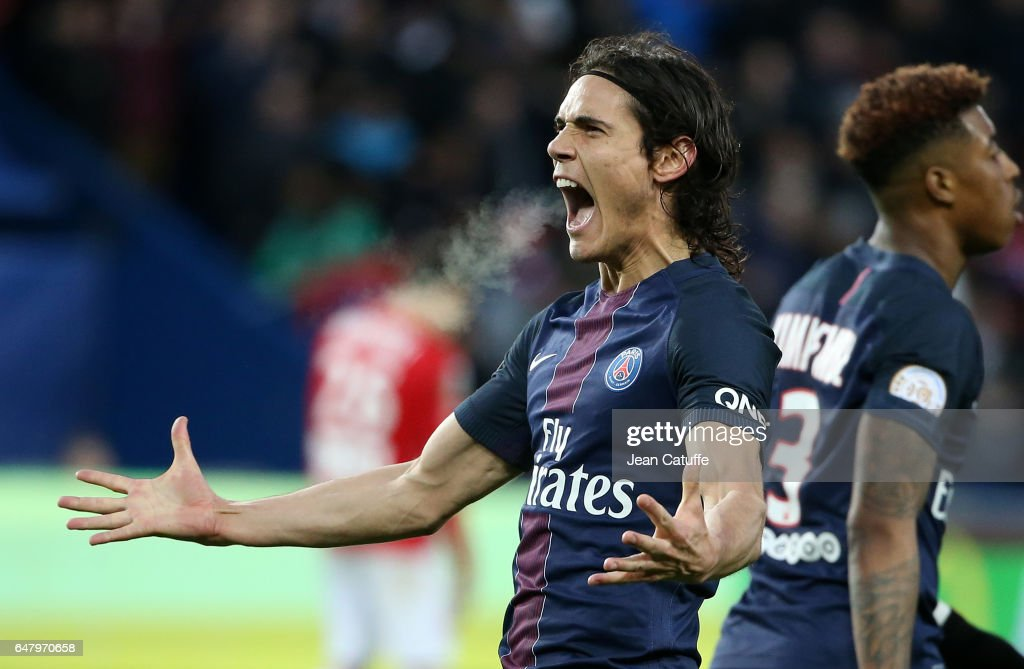 Edinson Cavani of PSG celebrates his winning goal on a penalty kick during the French Ligue 1 match between Paris Saint Germain (PSG) and AS Nancy Lorraine (ASNL) at Parc des Princes stadium on March 4, 2017 in Paris, France.