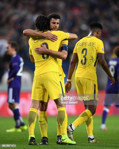 Edinson Cavani of PSG celebrates scoring his sides second goal with Thiago Motta of PSG during the UEFA Champions League group B match between RSC...