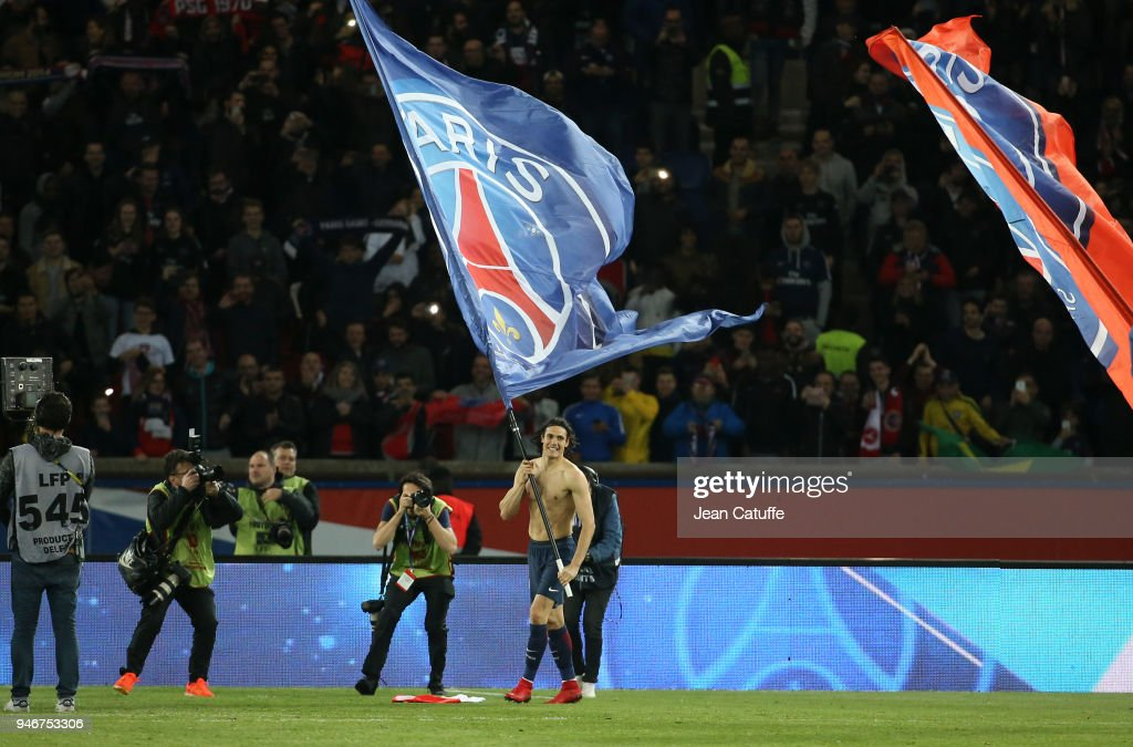 Edinson Cavani of PSG celebrates winning the French Championship following the Ligue 1 match between Paris Saint Germain (PSG) and AS Monaco (ASM) at Parc des Princes stadium on April 15, 2018 in Paris, .