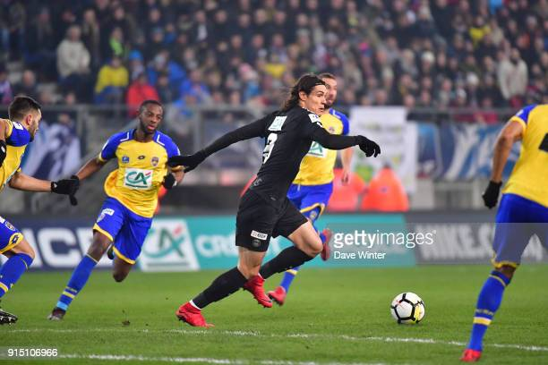 Edinson Cavani of PSG during the French Cup match between Sochaux and Paris Saint Germain at Stade Auguste Bonal on February 6 2018 in Montbeliard...
