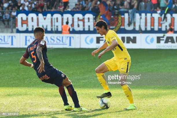 Edinson Cavani of PSG during the Ligue 1 match between Montpellier Herault SC and Paris Saint Germain at Stade de la Mosson on September 23 2017 in...