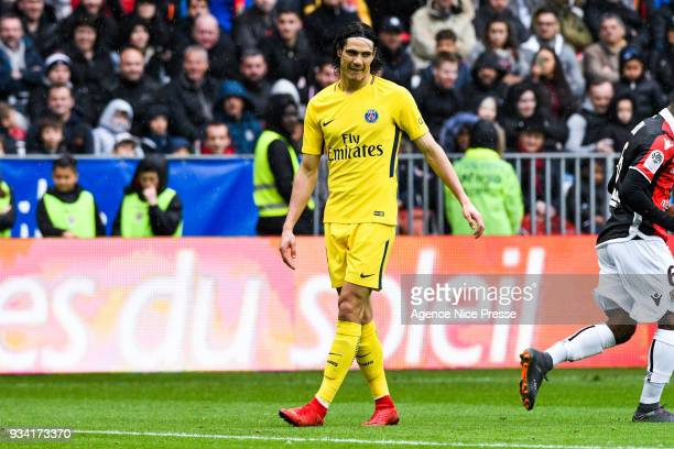 Edinson Cavani of PSG during the Ligue 1 match between OGC Nice and Paris Saint Germain at Allianz Riviera on March 18 2018 in Nice