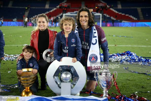 Edinson Cavani of PSG his girlfriend Jocelyn Burgardt and his sons Bautista Cavani Lucas Cavani celebrate during the French Ligue 1 Championship...