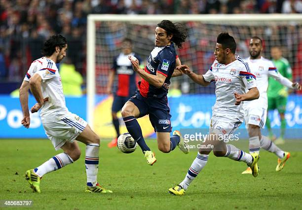 Edinson Cavani of PSG in action during the French League Cup Final between Olympique Lyonnais OL and Paris SaintGermain FC at Stade de France on...