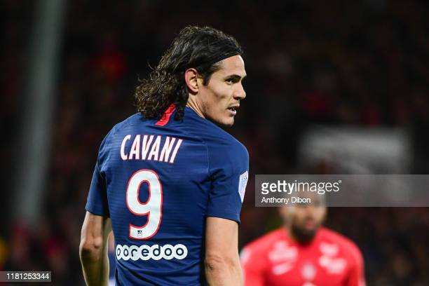 Edinson CAVANI of PSG looks dejected during the Ligue 1 match between Brest and Paris Saint Germain at Stade FrancisLe Ble on November 9 2019 in...