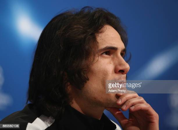 Edinson Cavani of PSG looks on during a Paris SaintGermain press conference on the eve of their UEFA Champions League match against Bayern Muenchen...