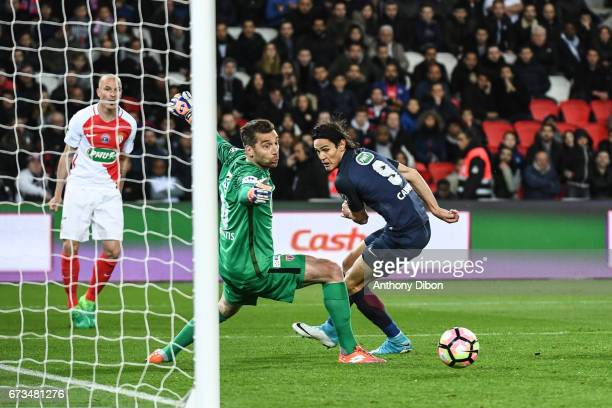 Edinson Cavani of PSG scores a goal during the Semi final of the French Cup match between Paris SaintGermain and As Monaco at Parc des Princes on...