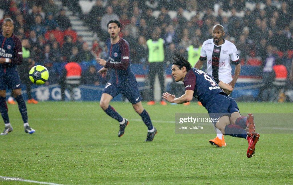 Edinson Cavani of PSG scores his second goal during the Ligue 1 match between Paris Saint Germain (PSG) and En Avant Guingamp at Parc des Princes stadium on April 29, 2018 in Paris, .