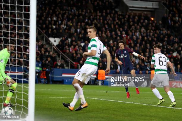 Edinson Cavani of PSG scores his sides sixth goal during the UEFA Champions League group B match between Paris SaintGermain and Celtic FC at Parc des...