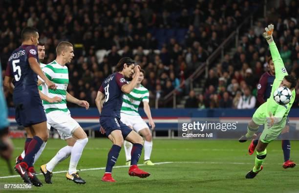 Edinson Cavani of PSG scores his sides third goal during the UEFA Champions League group B match between Paris SaintGermain and Celtic FC at Parc des...