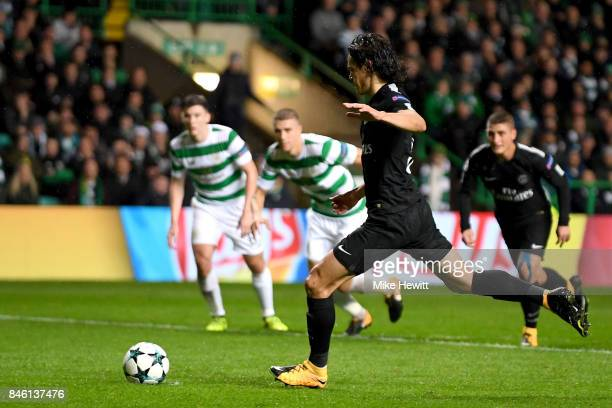 Edinson Cavani of PSG scores his sides third goal from the penalty spot during the UEFA Champions League Group B match between Celtic and Paris Saint...
