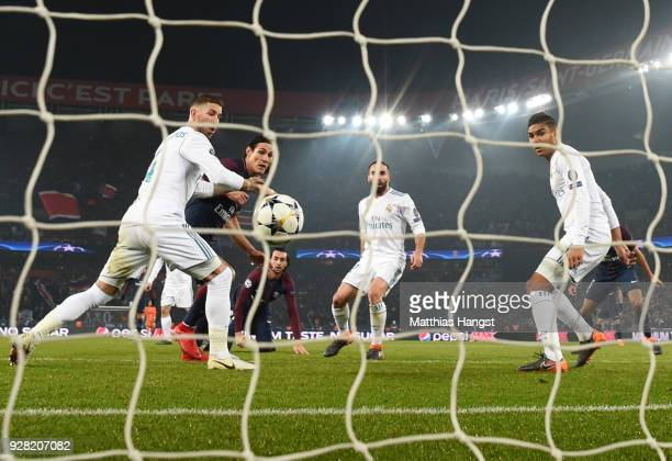Edinson Cavani of PSG scores their first goal during the UEFA Champions League Round of 16 Second Leg match between Paris SaintGermain and Real...
