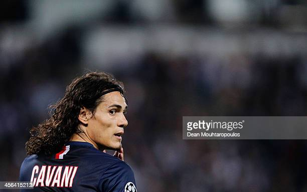 Edinson Cavani of PSG waits for a corner to be taken during the Group F UEFA Champions League match between Paris SaintGermain v FC Barcelona held at...