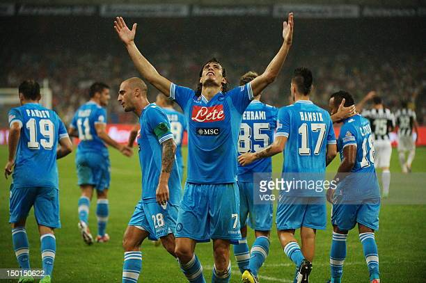 Edinson Cavani of SSC Napoli celebrates a goal during the 2012 Italian Super Cup match against Juventus FC at the Bird's Nest on August 11 2012 in...