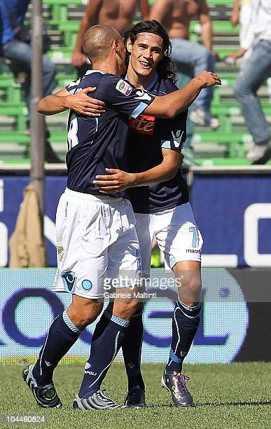 Edinson Cavani of SSC Napoli celebrates after scoring a goal during the Serie A match Cesena and Napoli at Dino Manuzzi Stadium on September 26, 2010...