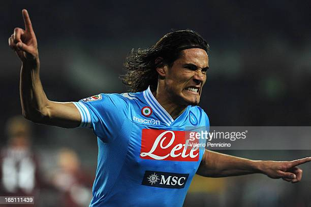 Edinson Cavani of SSC Napoli celebrates after scoring his second goal during the Serie A match between Torino FC and SSC Napoli at Stadio Olimpico di...