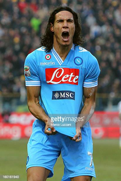 Edinson Cavani of SSC Napoli celebrates his goal during the Serie A match between Parma FC and SSC Napoli at Stadio Ennio Tardini on January 27 2013...
