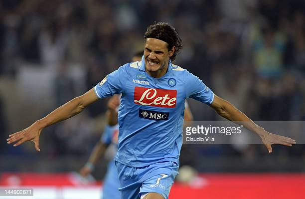 Edinson Cavani of SSC Napoli celebrates scoring the first goal during the Tim Cup Final between Juventus FC and SSC Napoli at Olimpico Stadium on May...